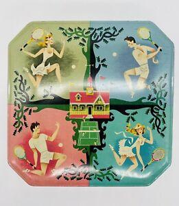 Vintage 1950s Carrs Biscuit tin British Sports Rare hexagonal kitchenalia tennis