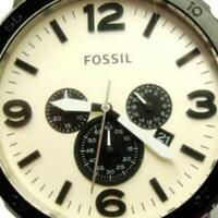 Fossil Chrono Mickey Mouse Leather Military Date Glo Tachy WR New Batt Men Watch