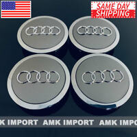 4x PC Grey Chrome Wheel Rim Center Replacement Hub Caps for Audi 69MM 4B0601170A