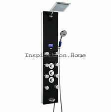 """52"""" Black Shower Panel Massage Jet Spa Tempered Glass Wall Mount Thermostatic"""