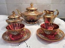 Antique Gold Embossed Cranberry 5 Piece Tea Service