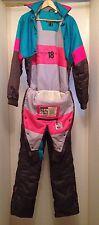 Vtg 80s NEVICA Neon Snowboard Snow SKI Suit BIB Jacket Coat Snowsuit Mens 42 M