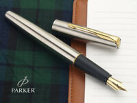 Parker Frontier Stainless Steel Gold Trim GT Fountain Pen + Blue Fountain Ink