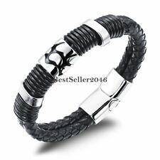 Men's Black leather Bracelet Stainless Steel Magnetic Buckle Wrist Cuff Bangle