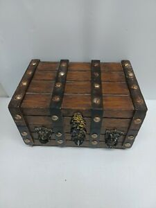 Vtg Pirate Chest Wood Lions Heads Treasure Chest Jewelry Trinket Box