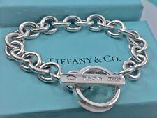 "Tiffany & Co. 1837 Silver Toggle Bar Circle Chain Bangle Bracelet 7.75"" L36gr"