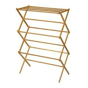 Household Essentials 6524 Tall Indoor Folding Wooden Clothes Drying Rack | Dry