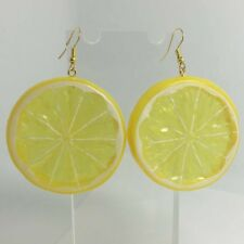 2 Pairs Extra Large Lemon And Orange Slice Fruit Earrings Kitsch A222 Yellow