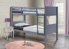 Birlea Dakota Wooden Grey Solid Wood Bunk Bed Frame 2X Single Beds 90CM 3FT