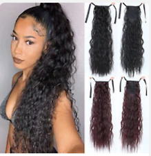 """Long 22"""" Ponytail Afro Kinky water Wave Curly Puff Clip in Hair Extensions"""