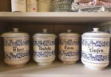 4 Stück Keramik Vorratsgefäße mit Deckel Vorratsdosen blau Behälter