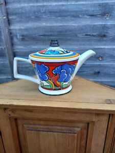 Sadler Art Deco Teapot Bizarre Ware Inspired By Clarice Cliff Style 1980 Vintage