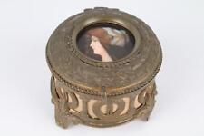 French Gilt Brass jewelry Box With Enamel Plaque portrait art nouveau ormolu (1)