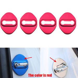 4Pcs/Set Stainless Steel Car Door Lock Protector Covers Red For Hyundai Series