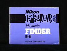 NIKON F2AS DP-12 PHOTOMIC FINDER ORIGINAL USERS MANUAL.FREE SHIPPING TO THE USA!