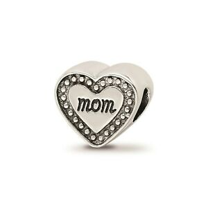 Reflection Beads Sterling Silver Antique Finish 2-Sided Mom Double Heart Bead