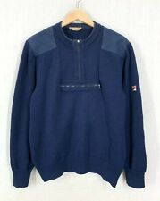 Vintage 70s 80s Fila Blue Wool Elbow Patch Bjorn Borg Sweater Sz42 Made In Italy