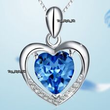 Gifts for Her Blue Topaz & Silver Necklace for Best Friends Sisters Women J619A