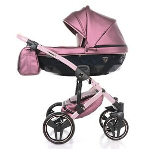 Exclusive Pram Junama Fluo 2 Pink + Black Baby Stroller Pushchair Travel System