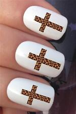 WATER NAIL TRANSFERS ANIMAL LEOPARD PRINT RELIGIOUS CROSS  DECALS STICKERS *321