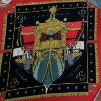 "Hermes Silk 35"" 90cm Pleated Scarf Red Black Made In France Vue Du Carrosse"
