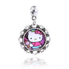 Retro Silver Cat Pink Hello Christmas Dangle Charm Bead Fit Bracelet D086