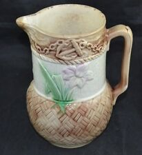 Majolica Mall Pitcher with Anchor Basketweave Flower See Condiiton