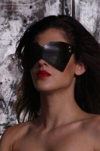 Schwarze Maske Augenmaske Blinder Binde SM Erotik schwarz Bondage Kunstleder