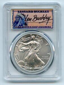 2021 (P) $1 Emergency Issue American Silver Eagle PCGS MS70 FDOI Leonard Buckley