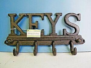 Wall Mounted Cast Iron Western Key Holder 4 Key Hooks Decorative Key Rack, Black