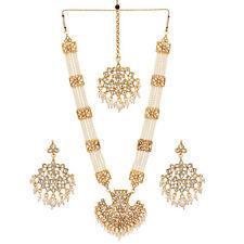 Jwellmart Indian Gold Polish Faux Pearl Kundan Stone Rani Haar Necklace Set