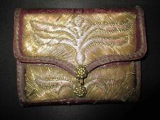 ancien porte monnaie cuir décor cuivre laiton tréssé nord afrique début XX ème