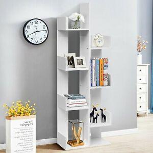Costway 8-Tier Bookshelf Bookcase 8 Open Compartments Space-Saving Storage Rack!