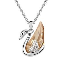 18K GOLD GP Made With SWAROVSKI CRYSTAL Brown Swan Pendant Necklace Multi