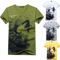 Fashion Summer Mens T-shirt Wolf Pattern Design V-Neck Men's Short Sleeve Tee