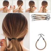 10X Women Elastic Clips Hair Ropes with Hook Ponytail Holder Hair Rubber Band