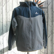 Adidas Retro Zip Up Jacket Thin Coat Hood Grey Blue /Green Boys Youth XL 34-36""