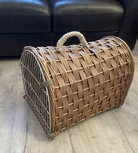 VIntage Natural WICKER Cat/Small Dog Large PET CARRIER BASKET With Front Grid