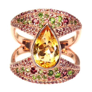 Unheated Pear Citrine 12x8mm Chrome Diopside Gems 925 Sterling Silver Ring 9
