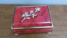 Vintage Blue Bird Confectionery Red Tin Gold Rose