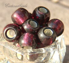 Rondelle Pony Beads, Large Hole, 12mm, Amethyst w/ Silver Lining, 4 Pcs, 0006