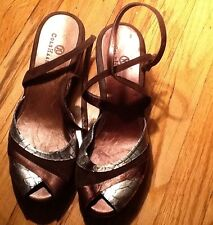 COLE HAAN NIKE AIR- PLATFORM WEDGE OPEN TOE SANDALS SIZE- 7,5B
