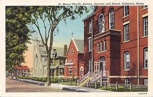 St. Mary's Church Rectory Convent & School BIDDEFORD Maine USA Postcard