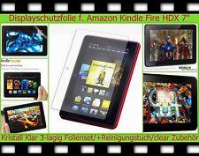 3x cristal claro láminas protectoras de pantalla Amazon Kindle Fire HDX 7 transparente Clear