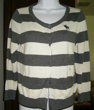 Abercrombie TARA sweater cardigan L NEW $68 Value Gray/white with pockets
