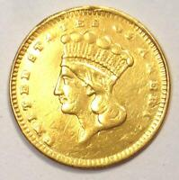1877 Indian Dollar Gold Coin (G$1) - XF Details (EF) - Rare Date Coin!