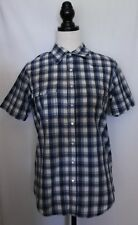 REVIVAL ~ Mens Rockabilly Blue White Check Cotton Short Sleeve Western Shirt L
