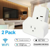 2 Pack WiFi Smart Plug Socket Switch Outlet For Amazon Alexa Google Home Echo