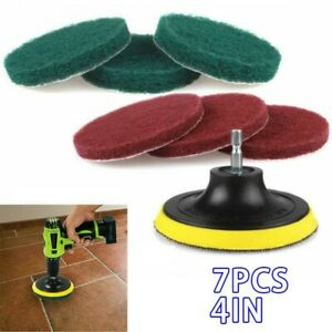 7 Pcs/Set Power Scrubber 4 Inches Scouring Pads Scrub Disc Bathroom Cleaning Set