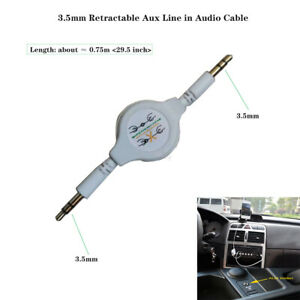 Gold 3.5mm Retractable Aux Line in Audio Cable for Car Mobile phone MP3 MP4 1pcs